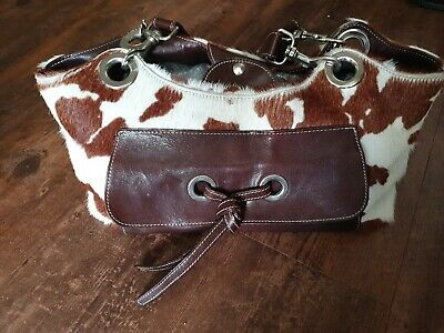 Beautiful Brown/Cream Cowprint  LEATHER BAG BY RUSSELL AND BROMLEY  • 35£