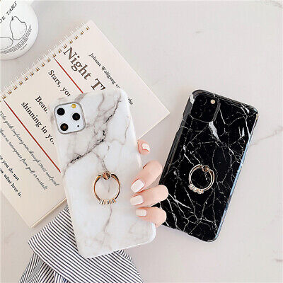 Polishing Marble Soft Case & Ring Holder For IPhone8Plus 7 XR X 11ProMax Cover • 5.99£