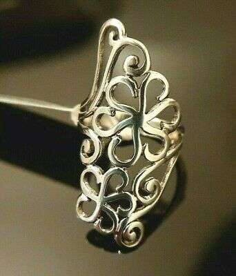 Ladies Chunky 925 Sterling Silver Floral Filigree Design Inspired Ring Size M • 15.95£