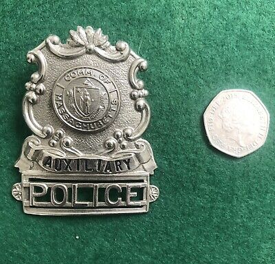 Vintage Auxiliary Police Officer Obsolete Cap Badge (Screw On) (Quincy, MA USA) • 15.99£