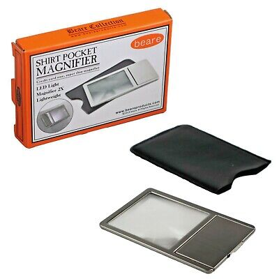 Quality Metal Pocket Magnifier - Credit Card  Sized LED Light Magnifying Glass • 3.19£