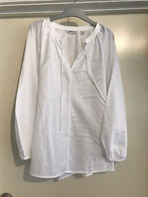 AU19.99 • Buy Country Road Womens White Self Stripe Popover /Smock Style Shirt. Size 8. Cotton