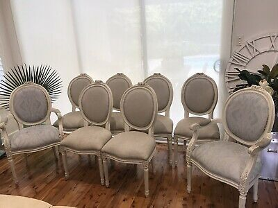 AU550 • Buy 8 Louis  Styje French Provincial Dining Chairs Floral Carvings