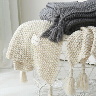 Soft Knitted-Blanket-Artificial-Cashmere Blanket Shawl Sofa Nap Throw Bedroom UK • 19.26£