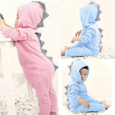 $10.97 • Buy Newborn Toddler Baby Boy Girls Dinosaur Hooded Romper Jumpsuit Clothes Outfit