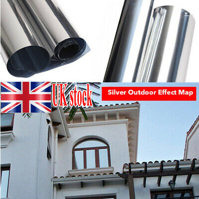 Mirror Reflective One Way Privacy Window Film Sticky Back Glass Tint Anti UV UK • 4.99£