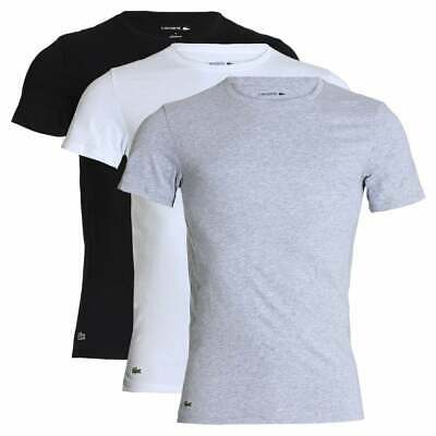 Lacoste 3-Pack Slim Fit Crew Neck T-Shirt, White / Silver Chine / Black • 40£