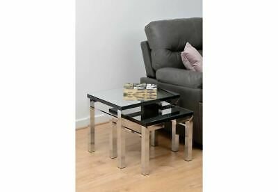 Seconique Valencia Mirrored Black Trim Nest Of Tables • 102.82£