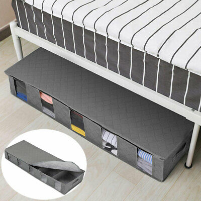 Large Capacity Under Bed Storage Box 5 Compartment Clothes Organiser Bags Case • 6.12£