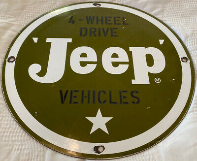 $ CDN26.80 • Buy Vintage Willys Jeep Porcelain Dealership Sign, Army, Gas, Oil, Ih, Wrangler Army