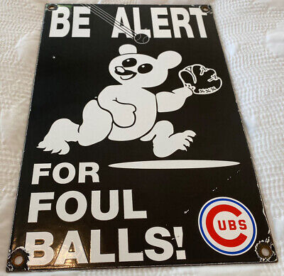 $ CDN26.80 • Buy Vintage Chicago Cubs Porcelain Stadium Sign Baseball Wrigley Field Gas Oil Mlb