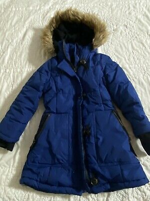 $27 • Buy HAWKE CO Girls Size S 5/6 Blue Mid Parka Faux Fur Hooded Blue Quilted Coat