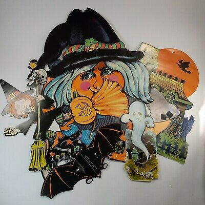 $ CDN14.99 • Buy Vintage 1970 Halloween Die Cut Wall Decorations Witch Bat Ghost Spooky House