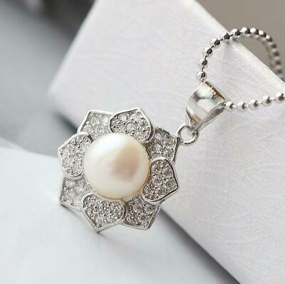 $ CDN22.36 • Buy Lotus Flower 925 Sterling Silver CZ Pearl Pendant A2617