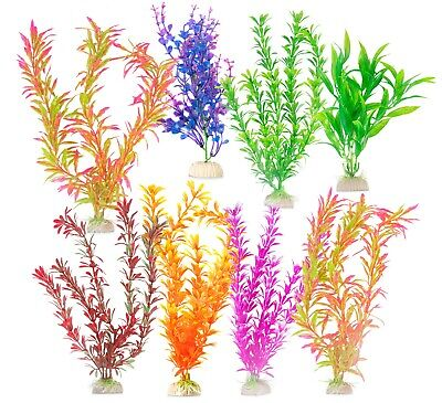 8 PACK Artificial Fake Aquarium Plants Fish Tank Aquatic Decoration Ornament • 8.99£