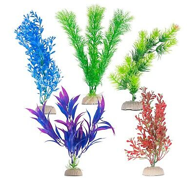 5 PACK Artificial Fake Aquarium Plants Fish Tank Aquatic Decoration Ornament • 5.99£
