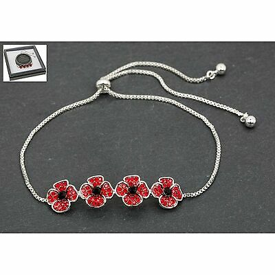 Equilibrium Silver Plated Poppy Friendship Bracelet Jewellery Gift • 14.69£