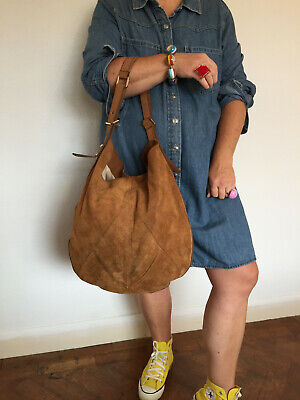M&s Autograph Highly Desirable Slouch Hobo Tan Aged Distressed Suede Leather Bag • 49.99£