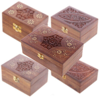 Decorative Sheesham Wood Carved Compartment Box Home Decoration Storage Gift • 16.69£