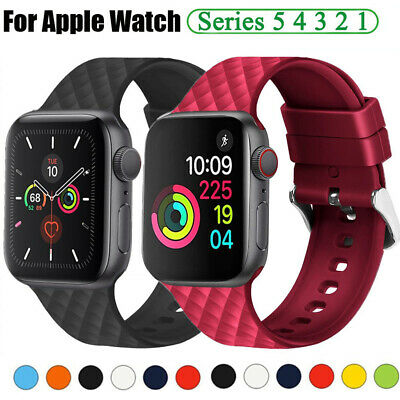 $ CDN6.86 • Buy 38 40 42 44mm Silicone Sports Band Strap For Apple Watch SE IWatch 6 5 4 3 Bands