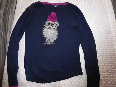 Ladies Navy Joules Winter Owl Jumper Top With Hat Size Uk 6 - Christmas Jumper • 27.99£