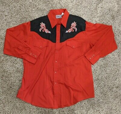 $23.99 • Buy Ely Diamond Mens Embroidered Red Western Dress Shirt With Pearl Snaps Size XL