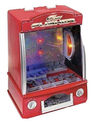 Fairground Arcade Coin Penny Pusher Game Tabletop Machine - Red • 24.95£