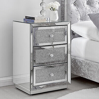 £174.99 • Buy STELLA Mirrored Crystal Bedside Bed Side Table Cabinet 3 Draws Bedroom Cabinet