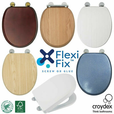 £34.98 • Buy Croydex Flexi-Fix Toilet Seat Solid Wood Soft Close Quick Release Brass Hinges