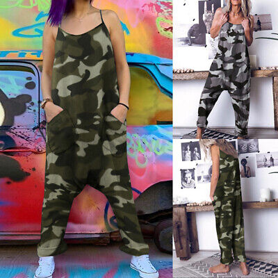 Women Baggy Camo Strap Harem Jumpsuit Long Playsuit Bib Overalls Pants Plus Size • 8.99£