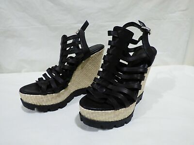 Italian Soft Leather Black Gladiator Strappy Wedges Sandals EUR 38 UK 5 • 18.99£