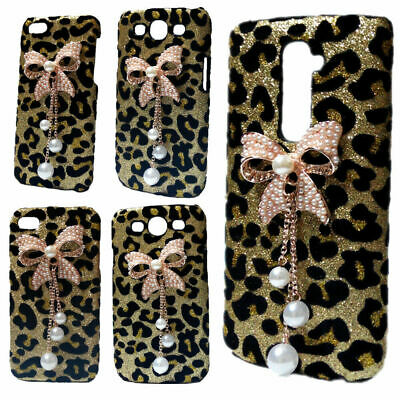 £5.82 • Buy 3D Bling Luxury Leopard Pearls Bow Tiger Head Hard Back Case Cover For Phones