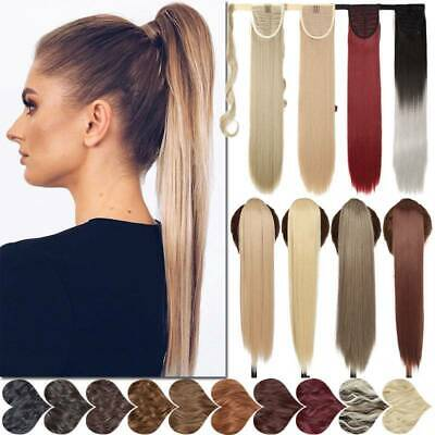 £8.91 • Buy Straight Hair Wrap Ponytail Extensions Clip In Hair Piece Real Thick Mimic-Human