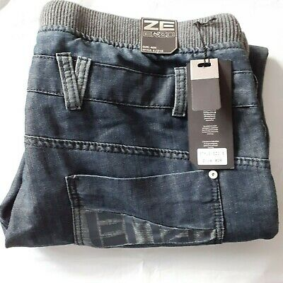 ZE ENZO 989 Jeans In Dark Blue With Grey Waist Band, Button Fly - Size 40 R • 12£