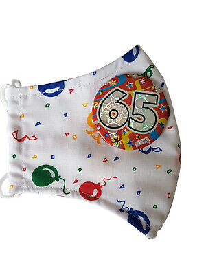 HAPPY 65th BIRTHDAY BALLOONS FACE MASK GIFT. REUSABLE WASHABLE FITTED NOSE. • 4.89£