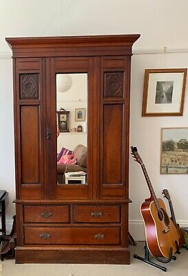 AU565 • Buy Antique Cedar Wardrobe With Double Cupboard, Mirror And Bevelled Drawers