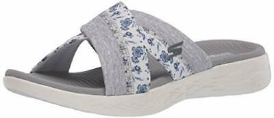 Skechers Women's Shoes 140038 Fabric Open Toe Casual Slide, White/Gray, Size 7.0 • 24.99£