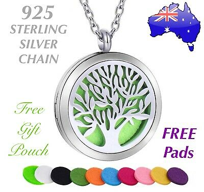 AU15.50 • Buy Tree Of Life Aromatherapy Oil Diffuser Stainless Steel Locket Pendant Necklace
