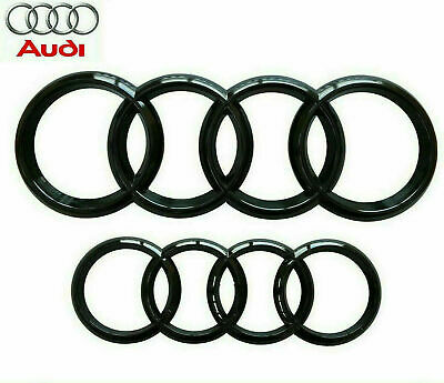 Audi Gloss Black Front Rear Grille Bonnet Badge Rings A1 A3 A4 S3 RS 273mm 193mm • 13.49£