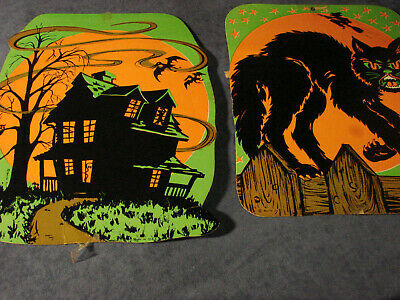 $ CDN52.84 • Buy VTG NEON Diecuts Halloween Decorations LOT 8 Eureka Cat Witch Skull Beistle