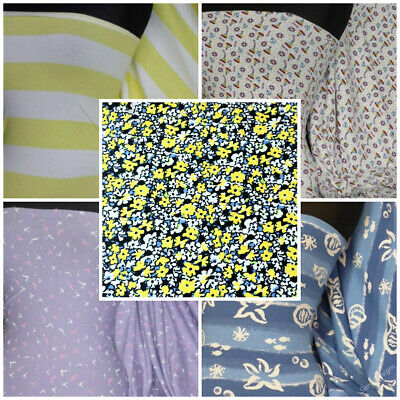 £7 • Buy Premium Quality Cotton Lycra Jersey 4 Way Stretch Fabric Prints Material