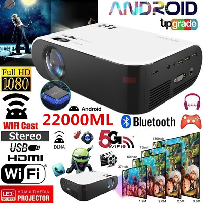 AU167.89 • Buy HD 1080P Bluetooth Smart Mini Projector WiFi Android System Home Theater HDMI AV