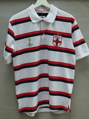 £4.99 • Buy Official England Polo Shirt FIFA World Cup Brazil 2014 White Red Striped Size L