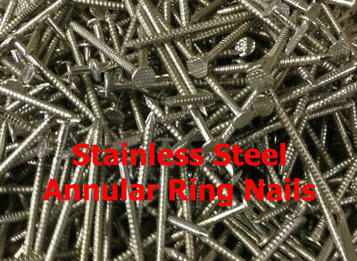 £5.95 • Buy 50 X 2.65mm STAINLESS STEEL ANNULAR RING SHANK NAILS CEDAR SHINGLE NAILS