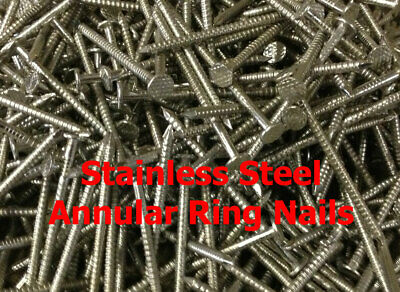 £4.40 • Buy 75 X 3.75mm STAINLESS STEEL ANNULAR RING SHANK NAILS CEDAR SHINGLE NAILS