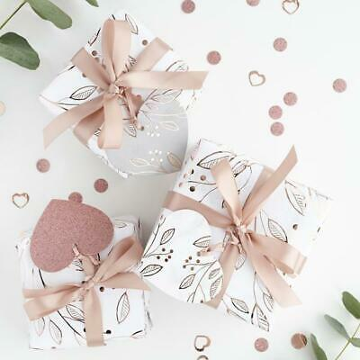 £7.85 • Buy Gift Wrapping Kit - Rose Gold & White Gift Wrap Set With Ribbon & 3 Tags