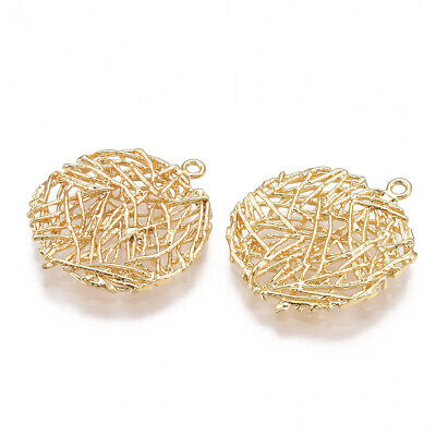 £6.37 • Buy 6pc Brass Filigree  Flat Round Pendants Mini Real 18K Gold Plated Charms 23x20mm