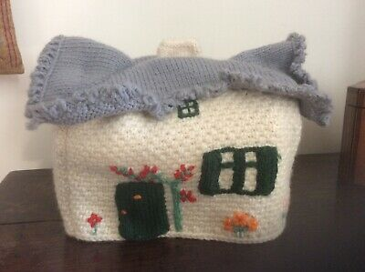 £10 • Buy Vintage Knitted Tea Cosy. Thatched Cottage.