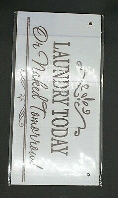 Cream And Brown  Laundry Today  Funny Wooden Sign, With String To Hang • 5£