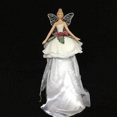 Gisela Graham Resin & White Rose Fairy Christmas Tree Topper Decoration 28cm • 10.80£